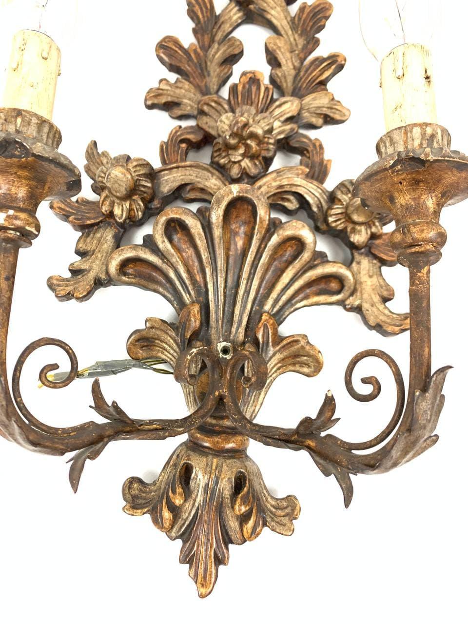 Антикварные бра из дерева