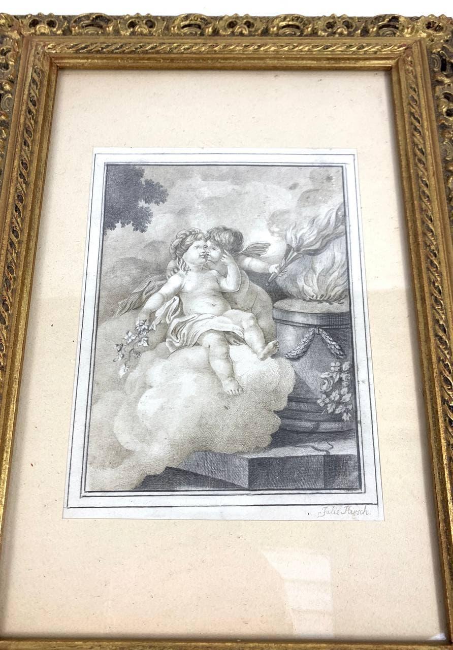 Антикварный рисунок карандашом