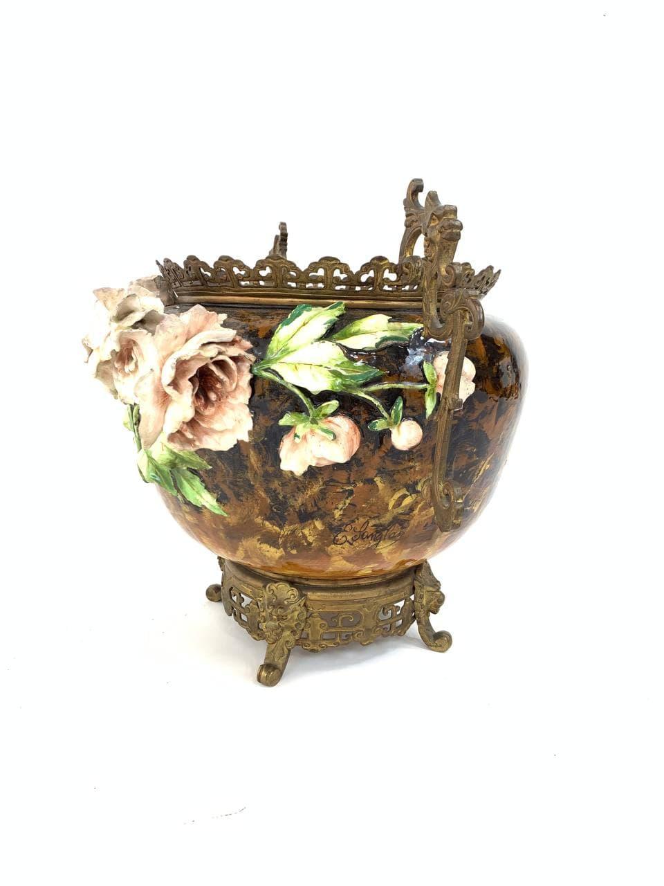 Антикварная ваза барботин в бронзе