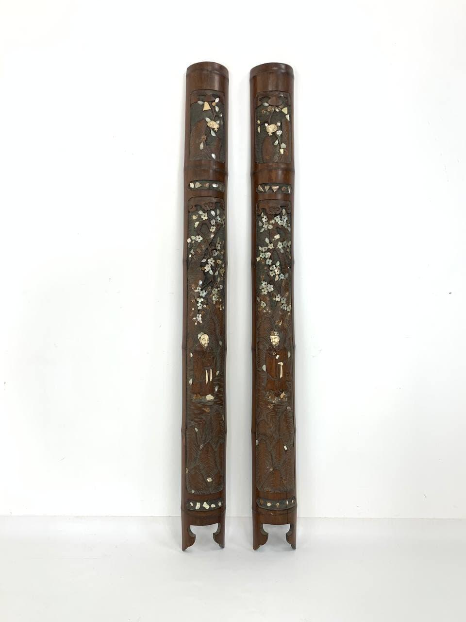 Антикварная пара японских панелей