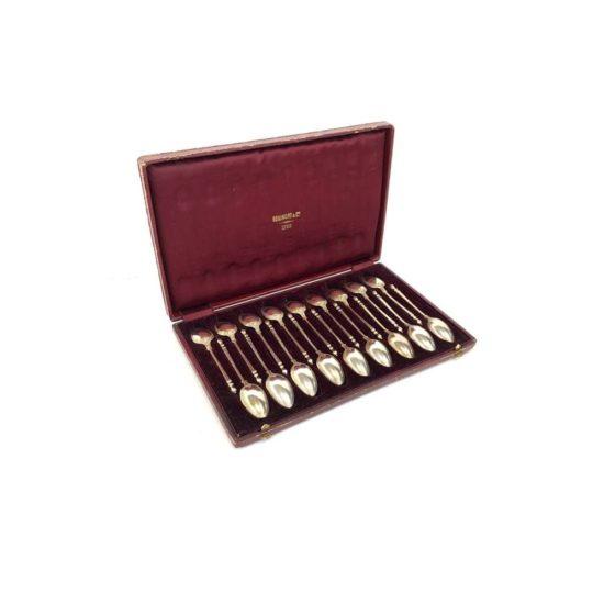 Антикварные чайные ложечки из серебра мастера ювелира Jules Piault