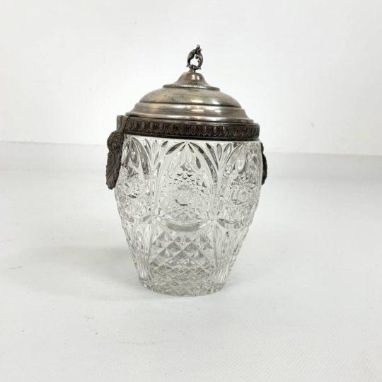 Антикварная сахарница в серебряной оправе