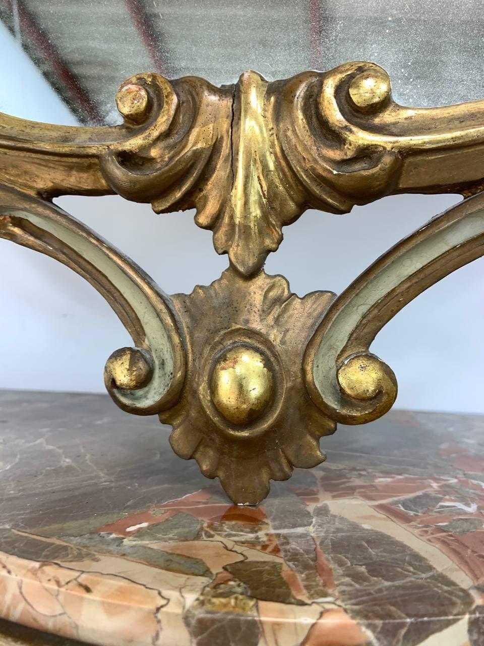Антикварная консоль с зеркалом