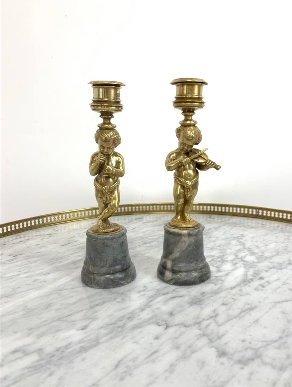 Антикварные бронзовые подсвечники на мраморном цоколе