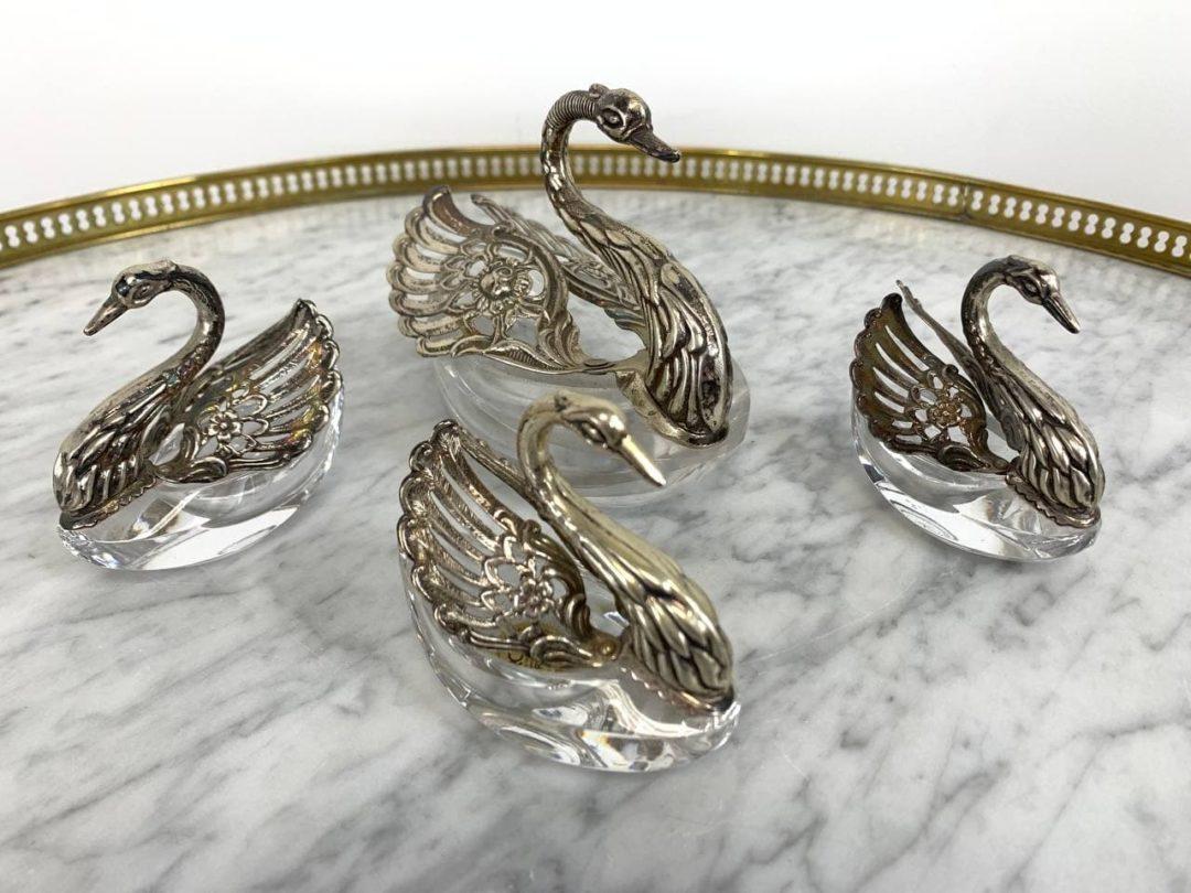 Винтажные декоративные солонки-лебеди