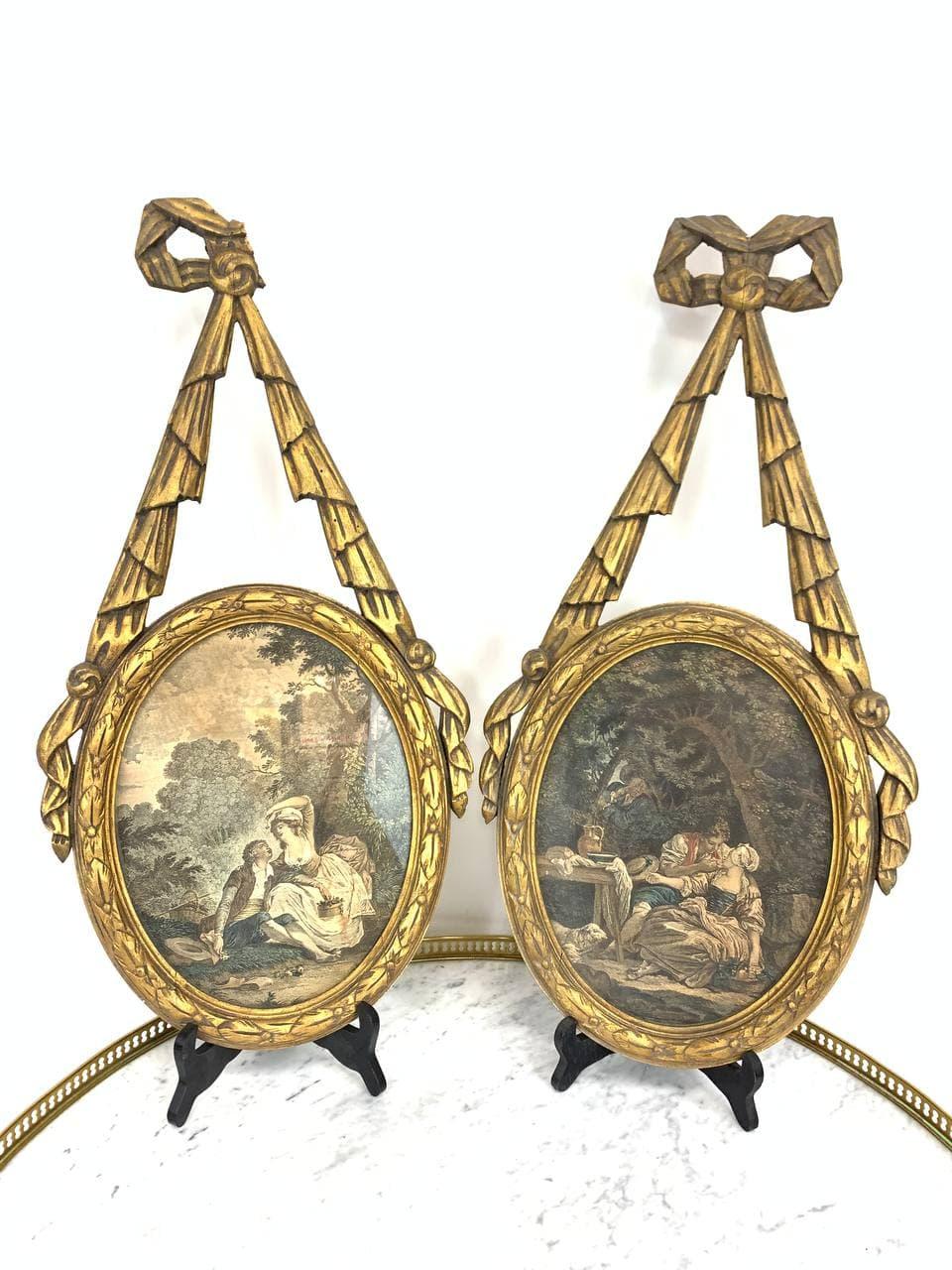 Антикварная пара гравюр в деревянных рамках