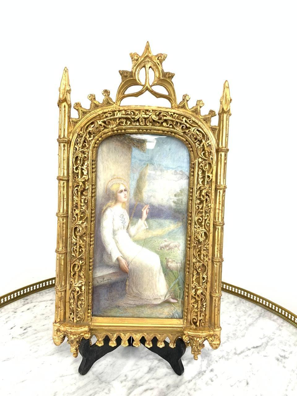 Антикварная картина в готической раме