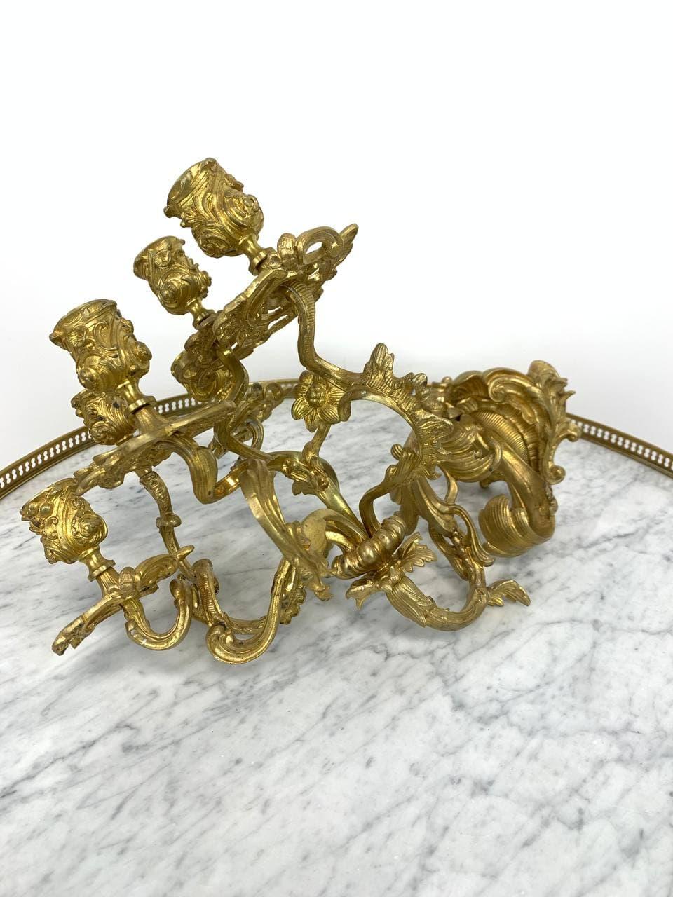 Антикварное бронзовое бра - подсвечники