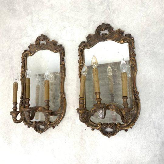 Антикварные бра с зеркалами в стиле Рококо