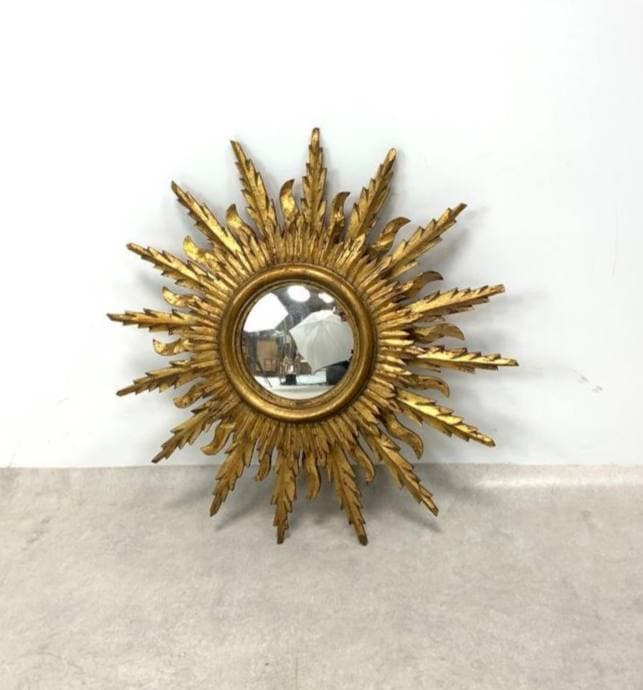 Винтажное зеркало в виде солнца