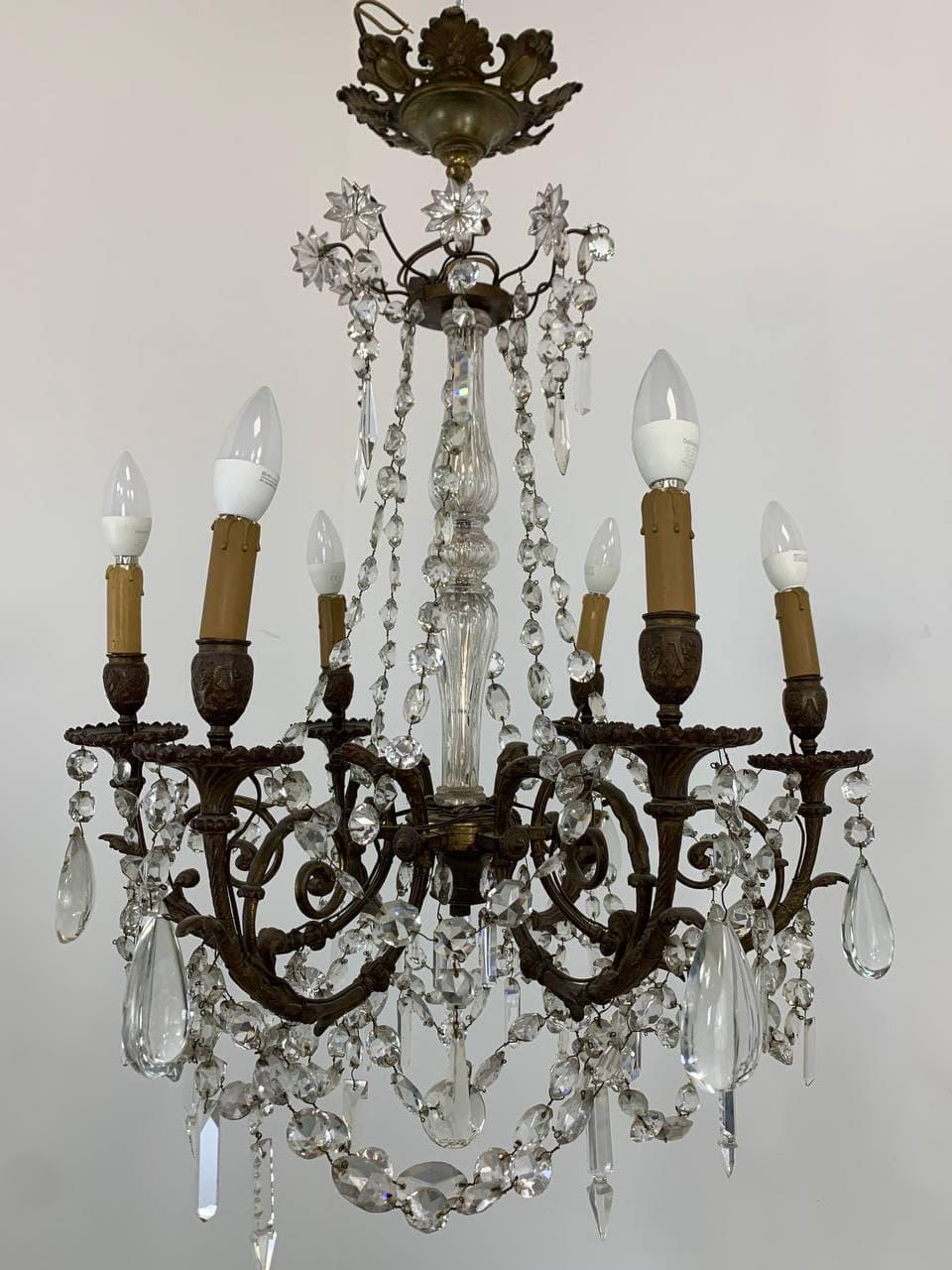 Антикварная подвесная люстра из бронзы и хрусталя