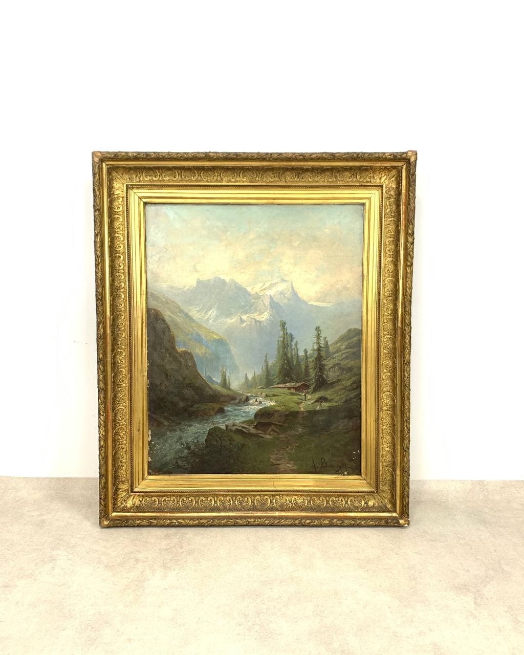Антикварная картина, горный пейзаж