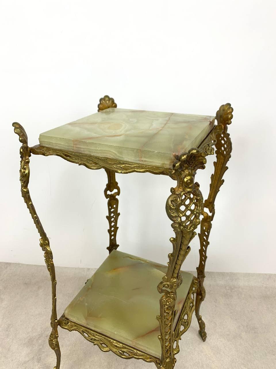Винтажный бронзовый столик-подставка
