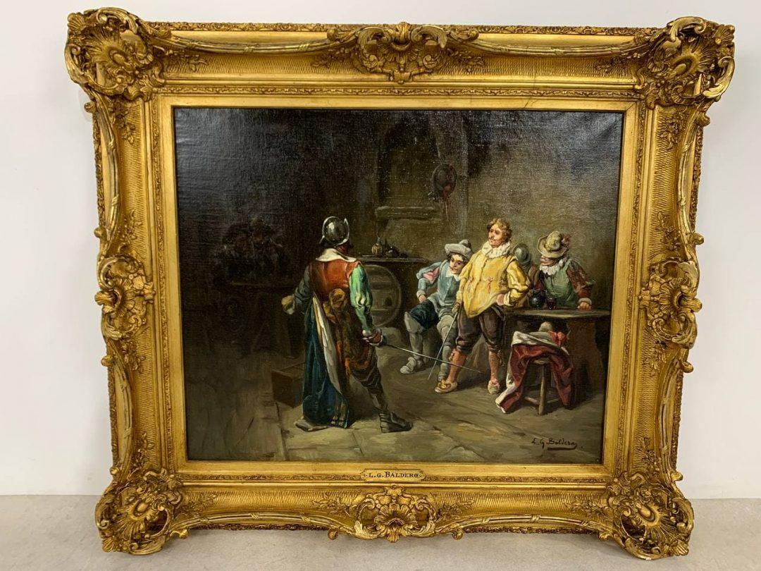 Антикварная живопись конца XIX века - «Мушкетёры в таверне»