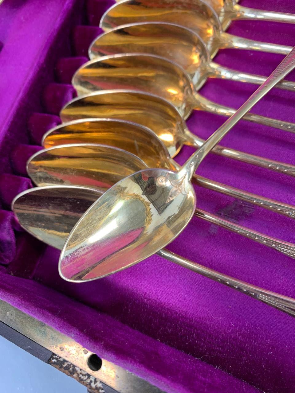 Антикварные чайные принадлежности из позолоченного серебра