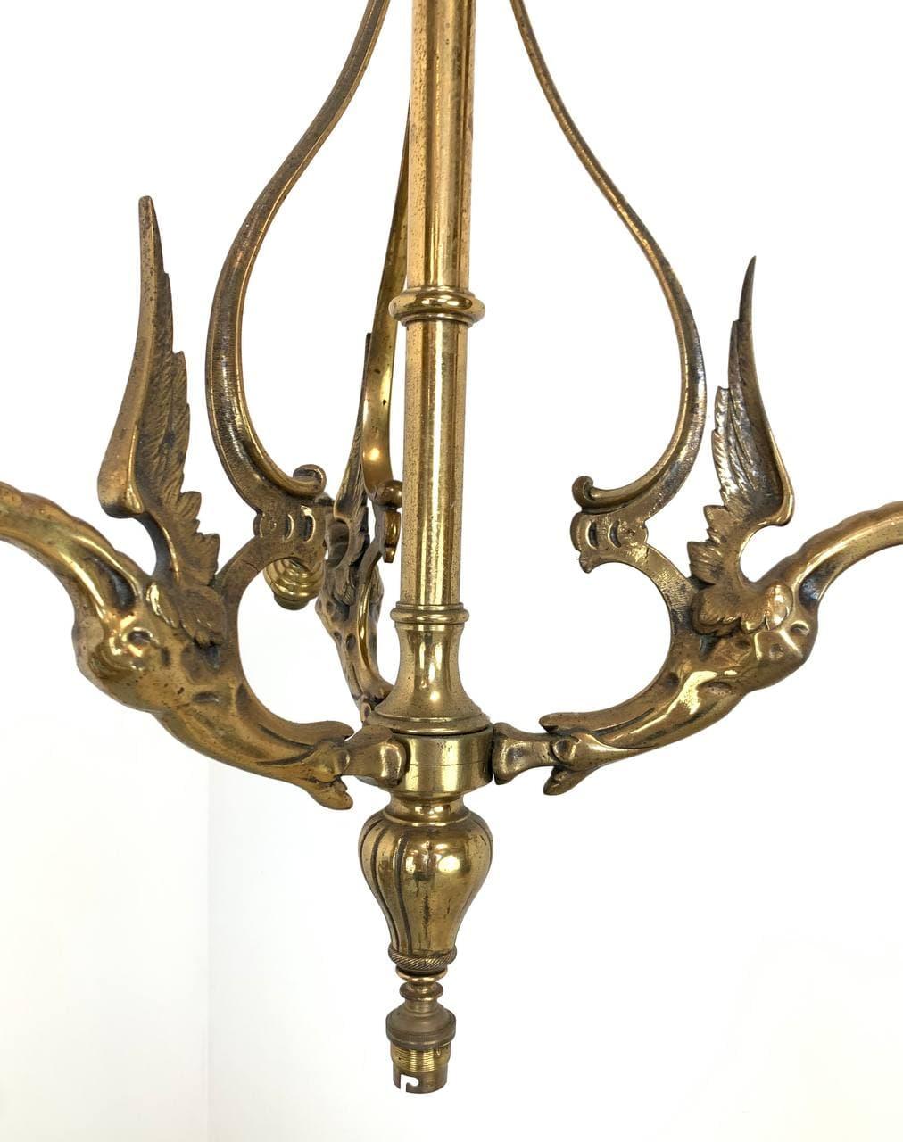 Антикварная бронзовая люстра с химерами