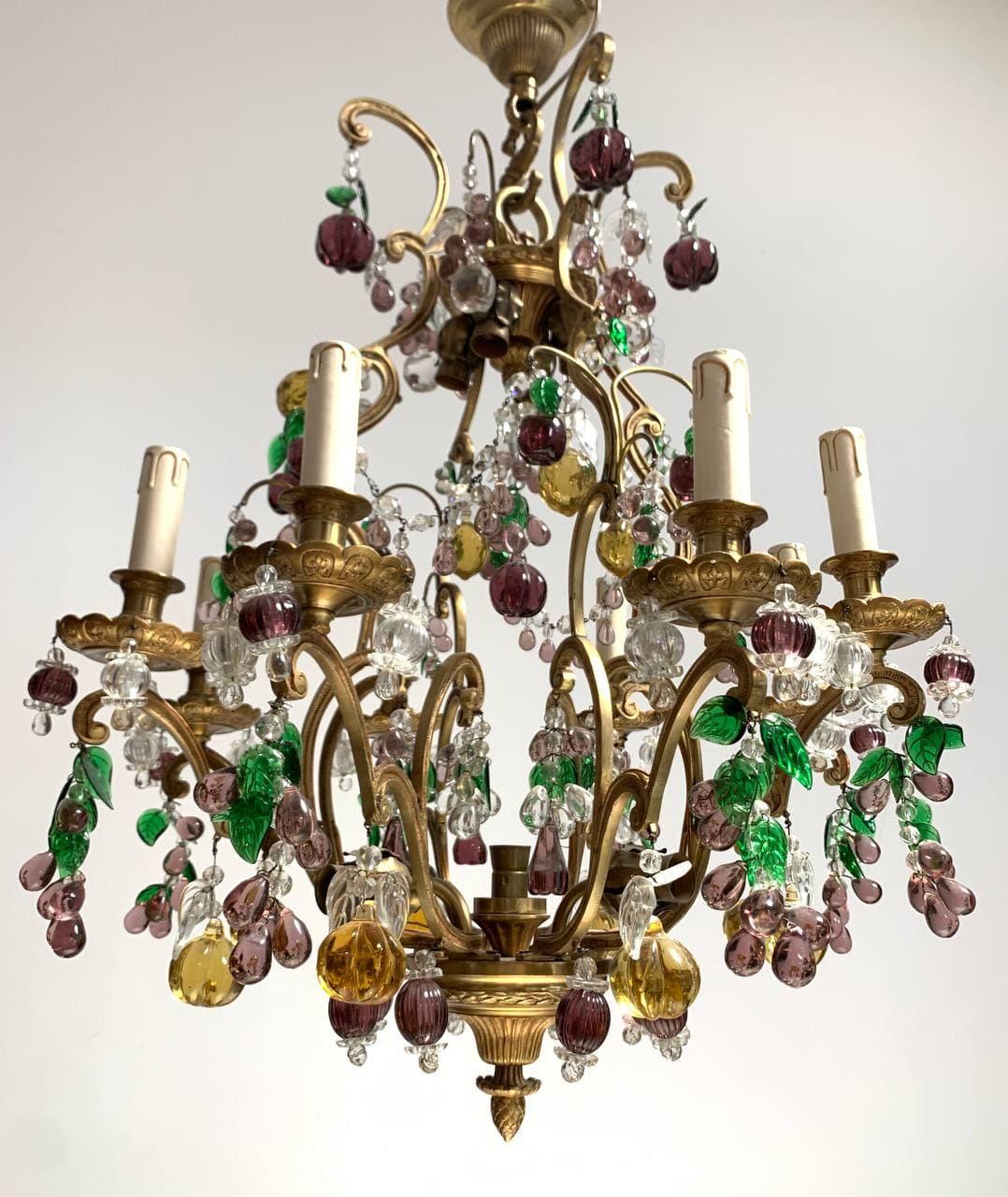Винтажная люстра из бронзы и муранского стекла