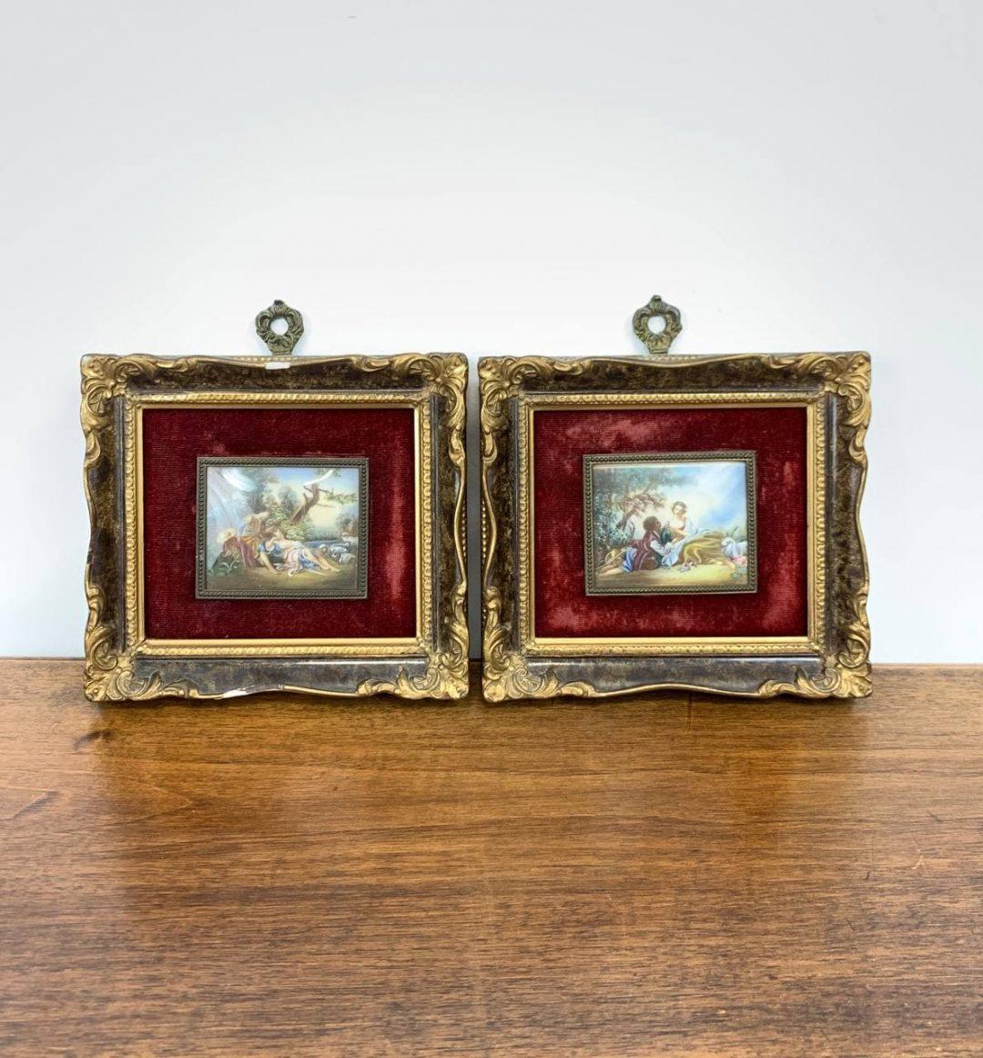 Антикварные миниатюры с галантными сценами