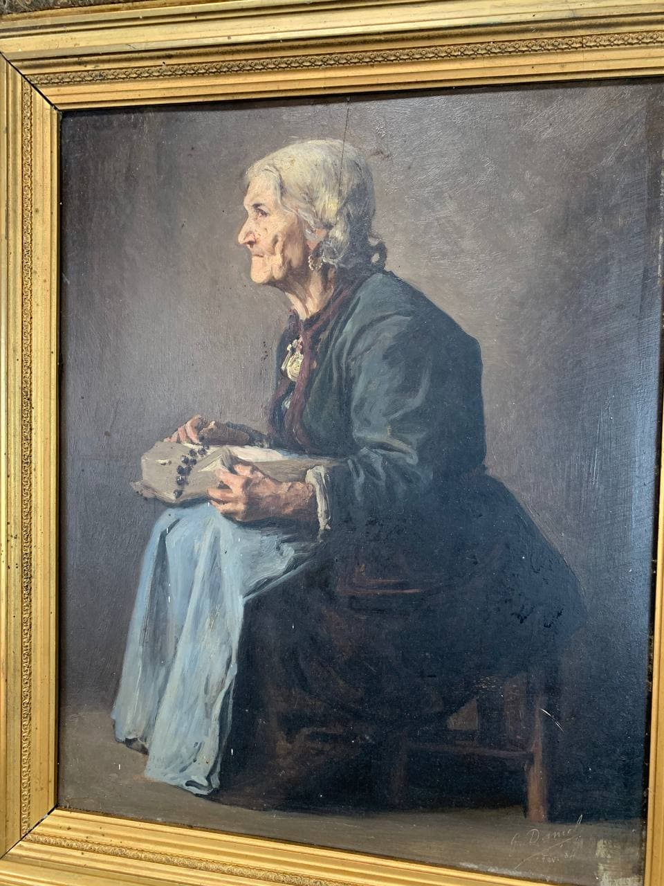 Антикварная картина второй половины XIX века