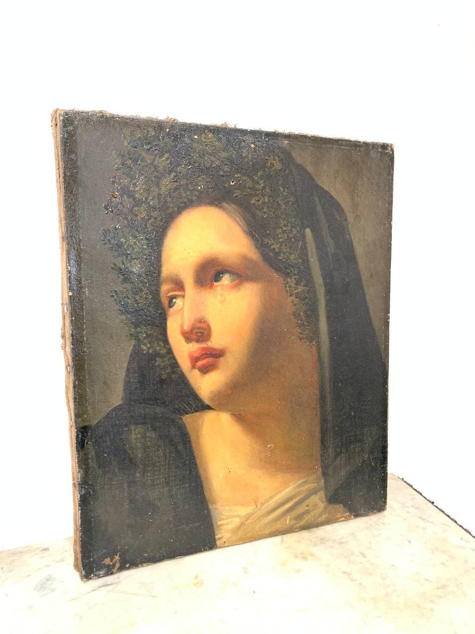 Антикварная картина «Плачущая Мадонна»