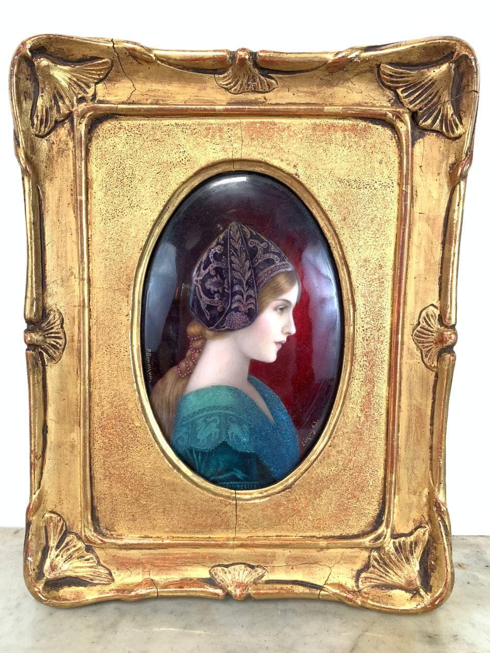 Антикварная картина с фарфоровой вставкой
