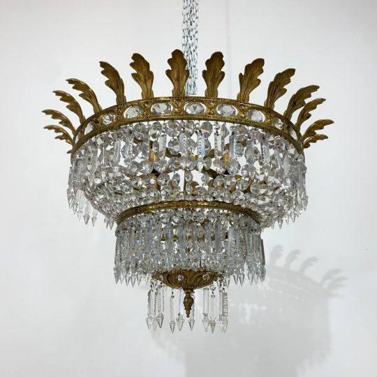 Антикварная потолочная люстра из бронзы и хрусталя