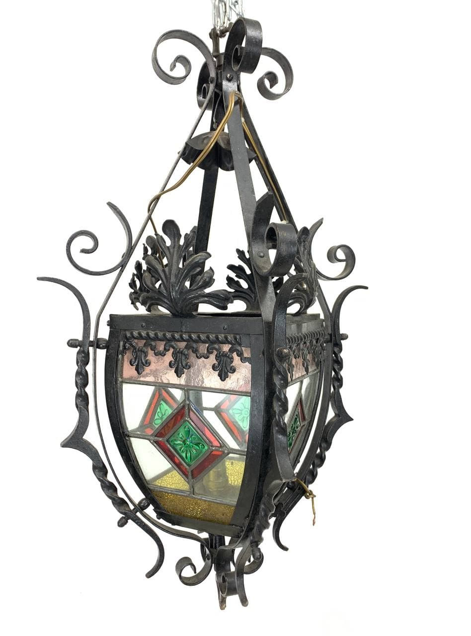 Антикварный кованый фонарь с витражами