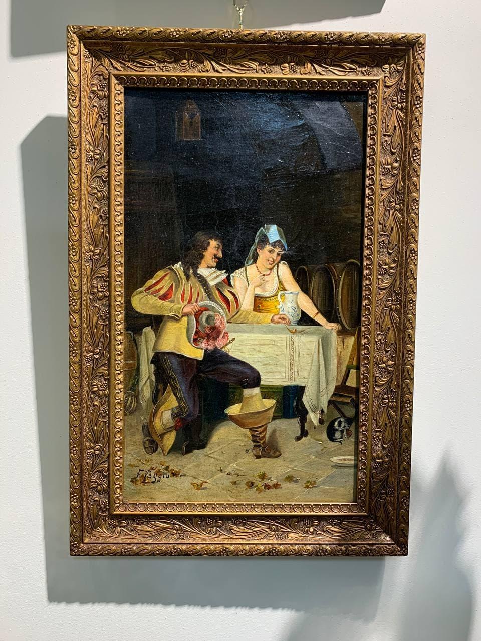 Антикварная картина «Мушкетёр в таверне»