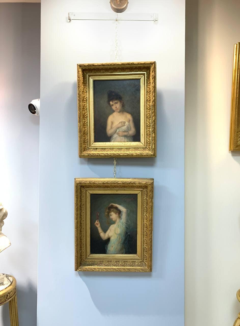 Антикварная пара картин второй половины XIX века
