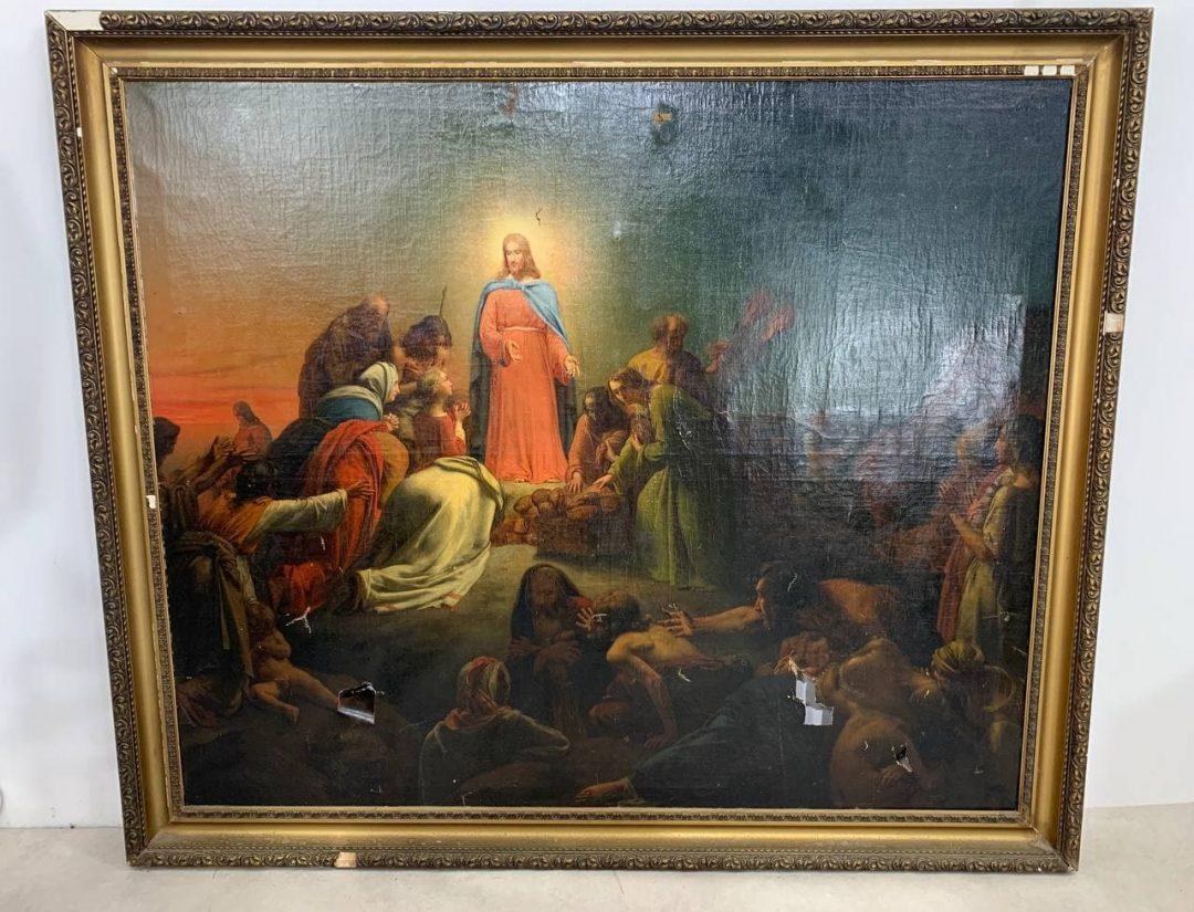 Антикварная живопись «Чудо умножения хлебов»