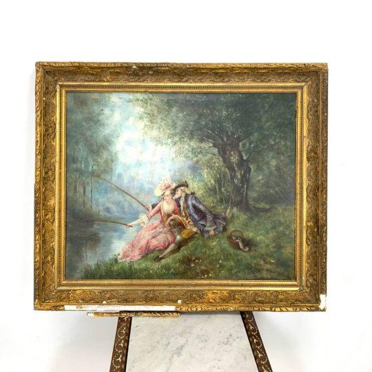 Антикварная живопись «На рыбалке»