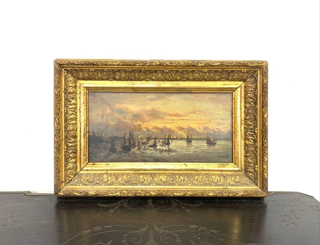 Антикварная живопись «Рассвет на море»