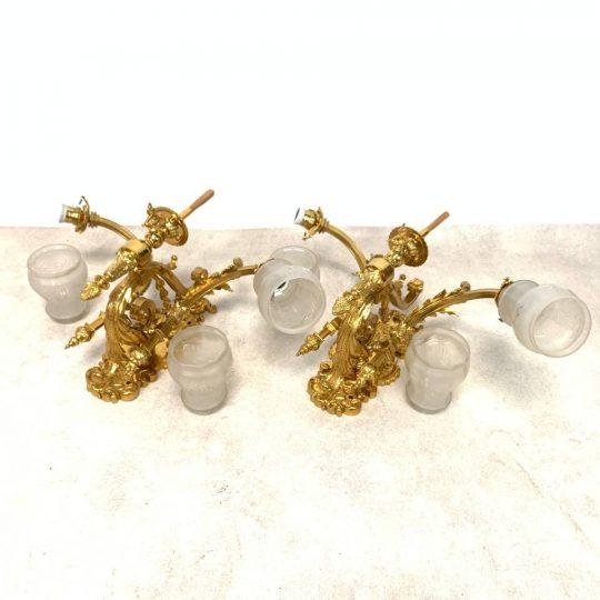 Антикварные бра из массивной золочёной бронзы