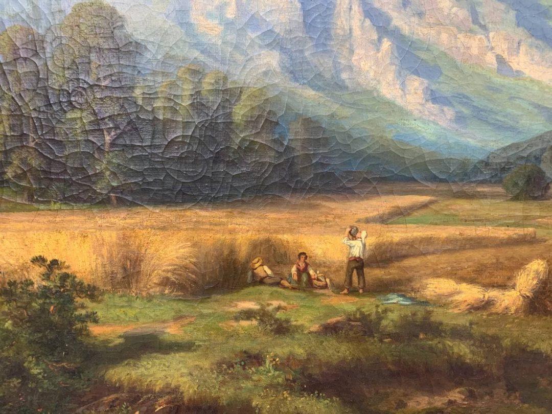 Антикварная живопись «Жатва в горах»