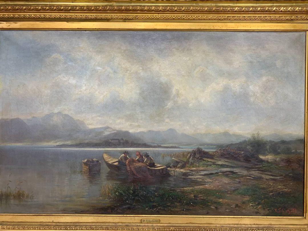 Антикварная живопись «Пейзаж с рыбаками»