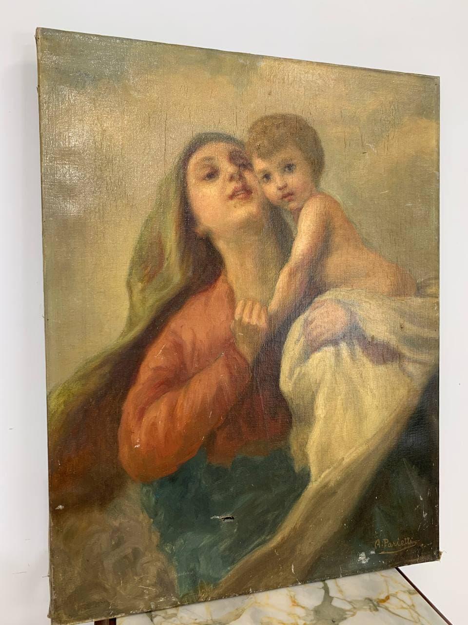 Антикварная живопись «Богородица»