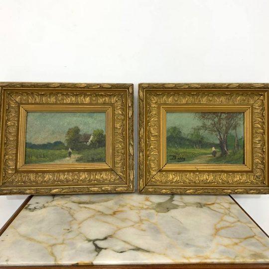 Антикварная пара картин