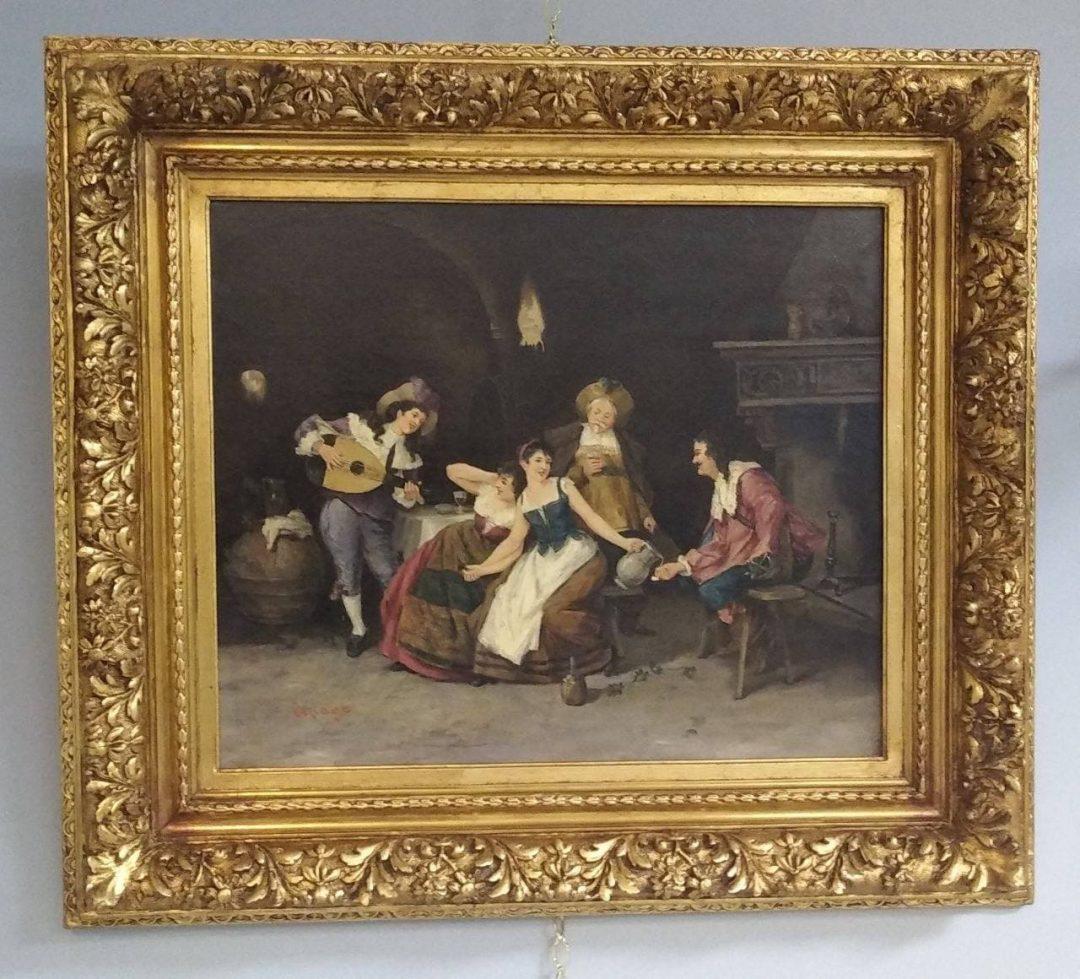 Антикварная живопись «Мушкетёры в таверне»