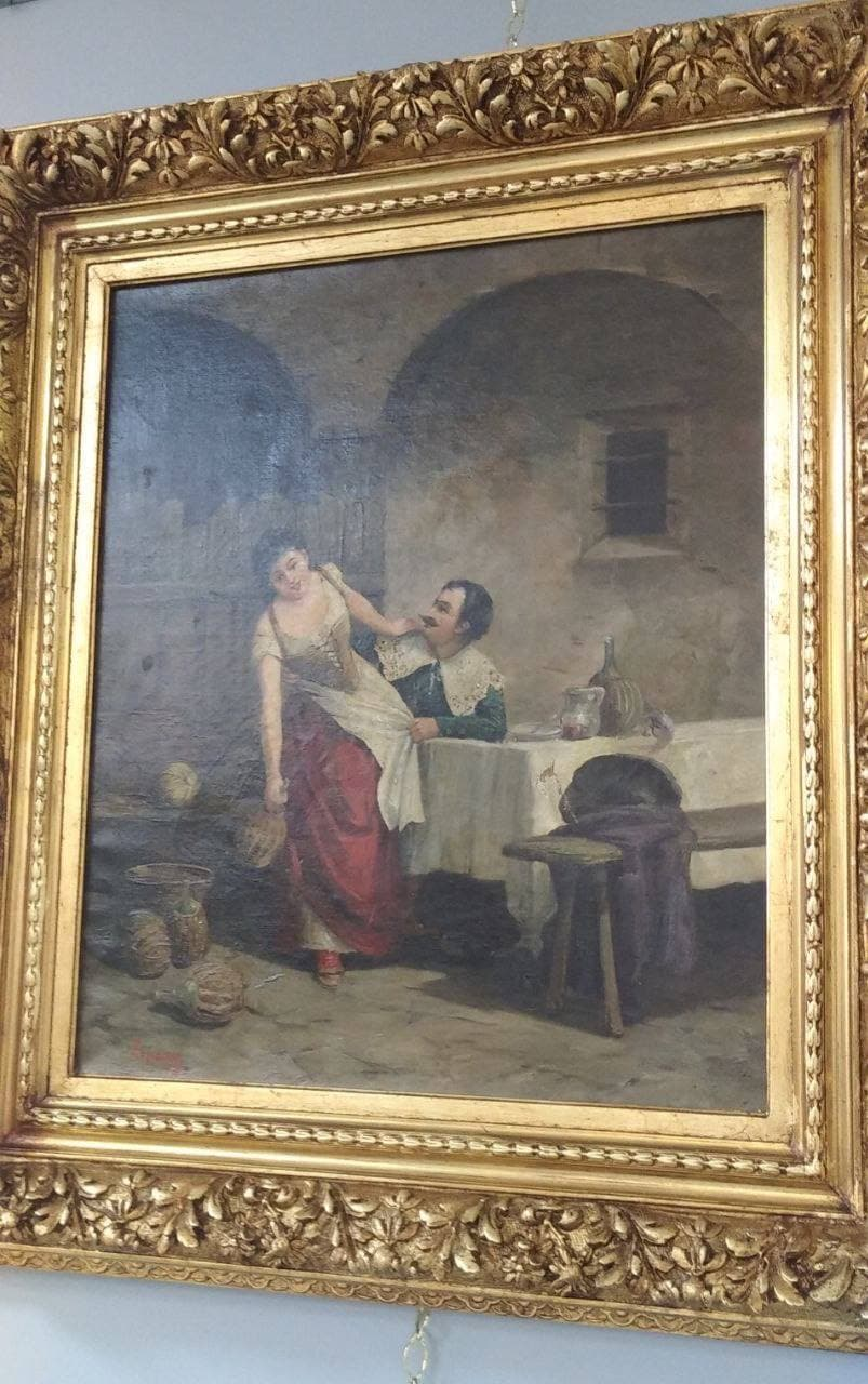 Антикварная живопись «Мушкетёр в таверне»