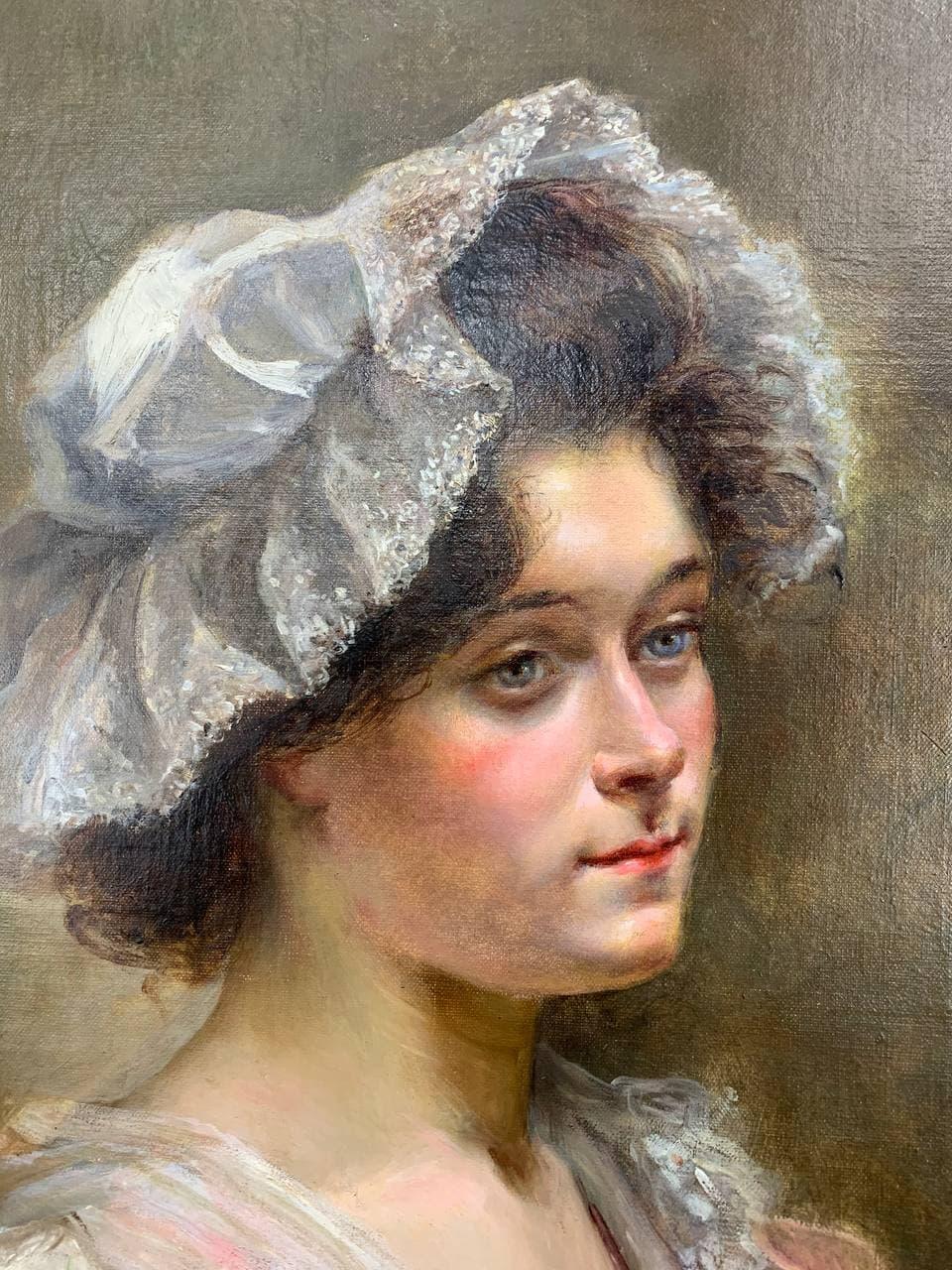 Антикварная живопись «Портрет молодой девушки»