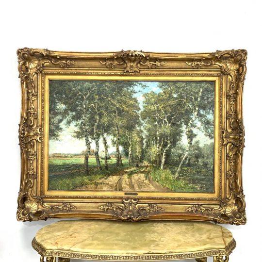 Антикварная живопись «Пейзаж с дорогой»