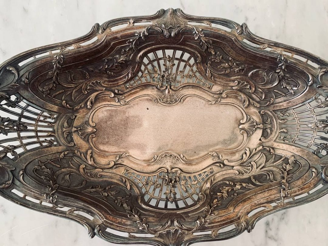 Антикварная серебряная фруктовница