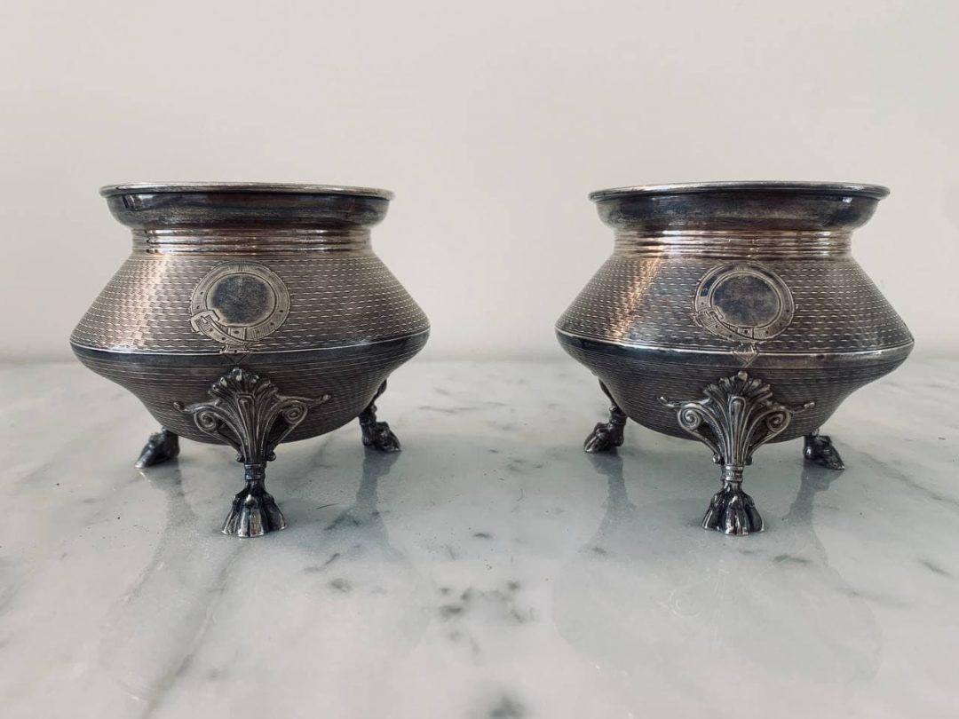 Антикварные большие солонки из серебра