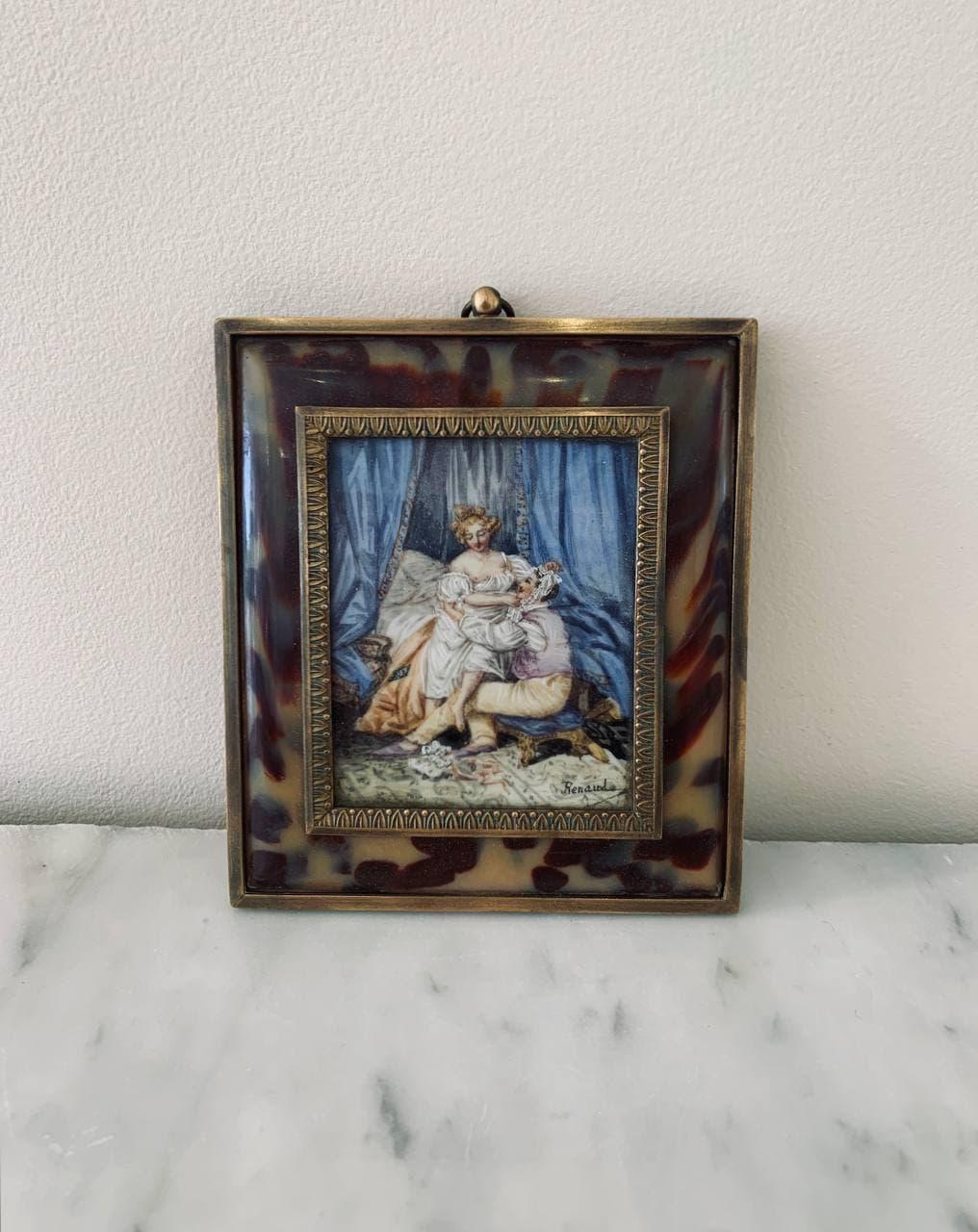 Антикварная миниатюра с эротической сценой