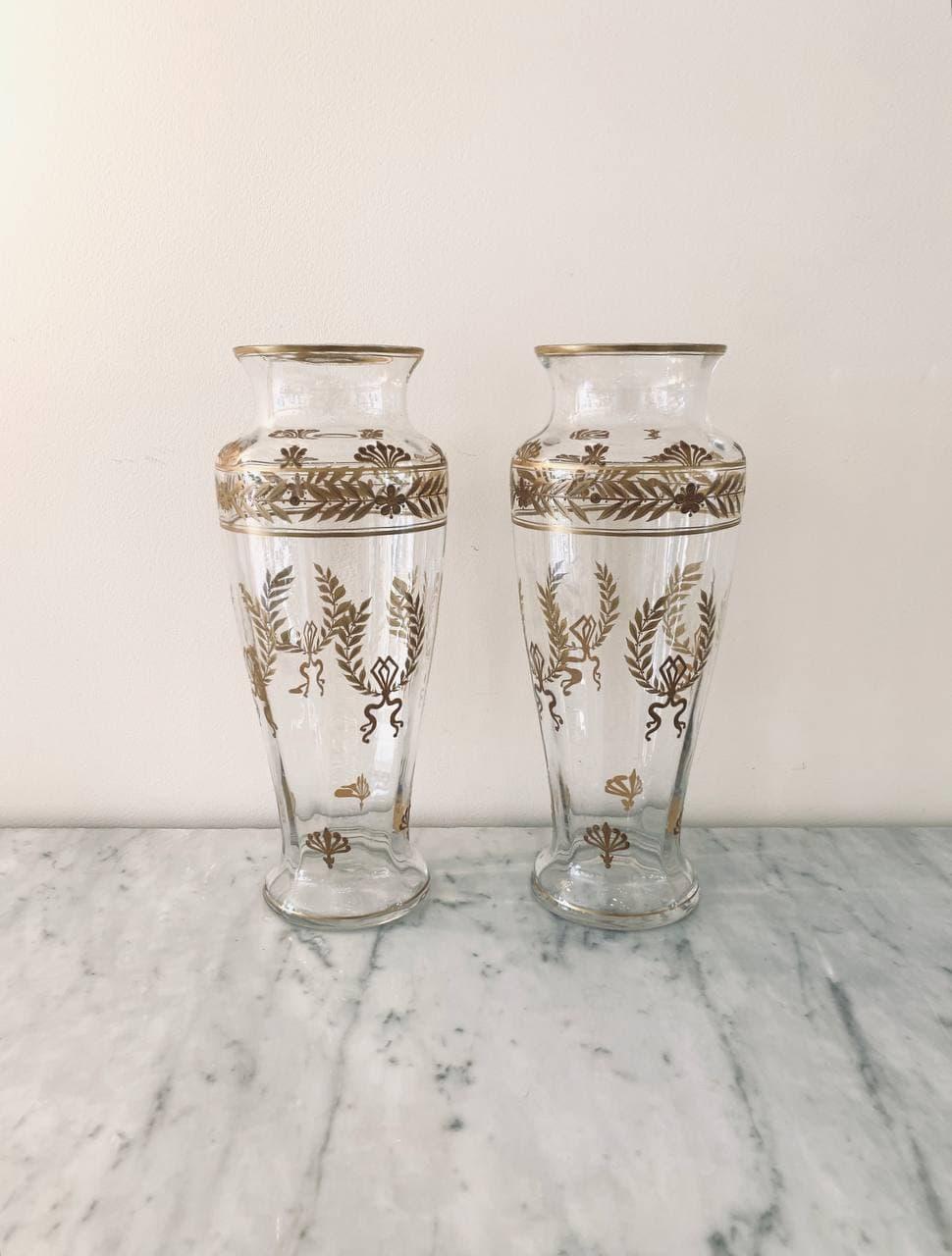 Антикварная пара ваз ручной росписи