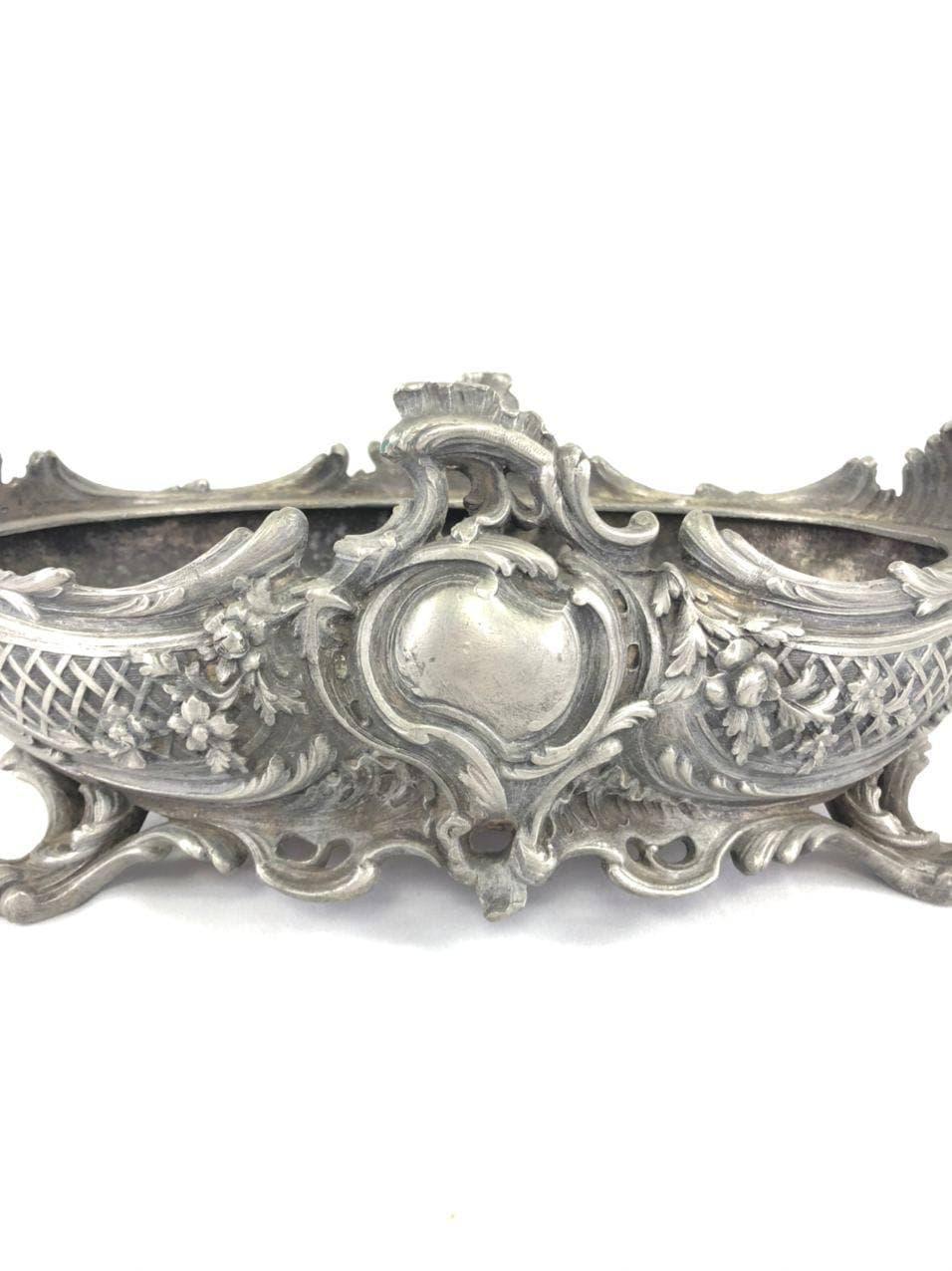 Антикварное кашпо из посеребренной бронзы в стиле Луи XV