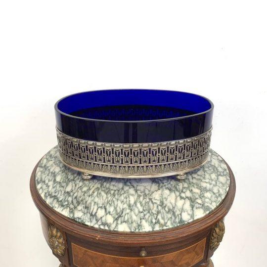 Антикварная серебряная фруктовница  с кобальтовой вставкой