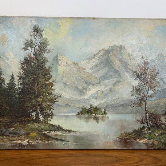 Антикварная живопись «Горный пейзаж»