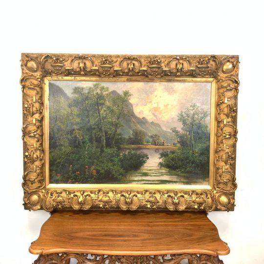 Антикварная живопись «Закат в горах»