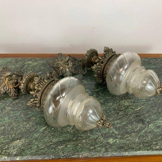 Антикварная пара фонарей из бронзы и хрусталя